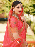 Perfect Peach Designer Saree :- Samosatin Silk With Embroidery Border