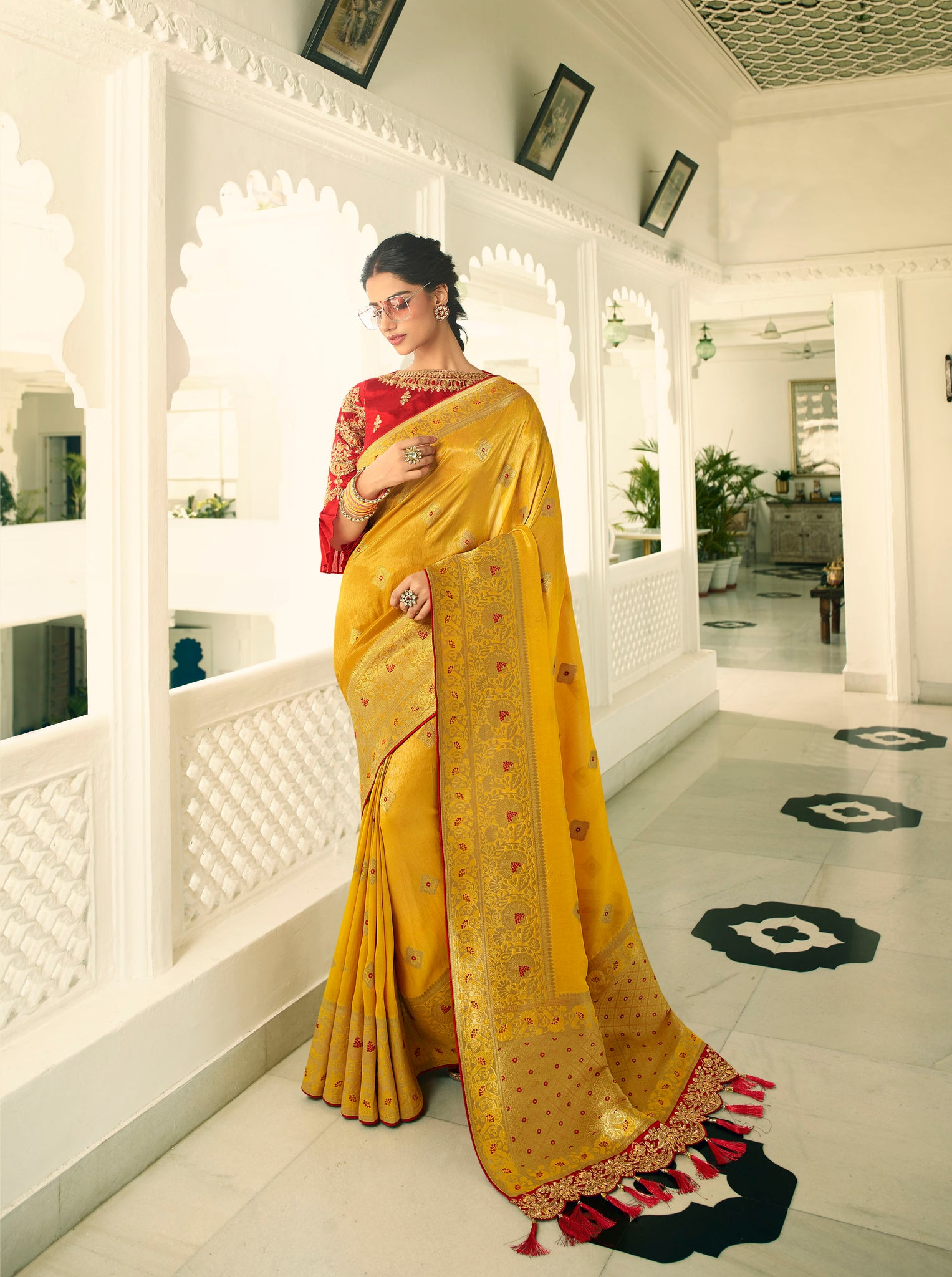 Corn Yellow Designer Banarasi Saree