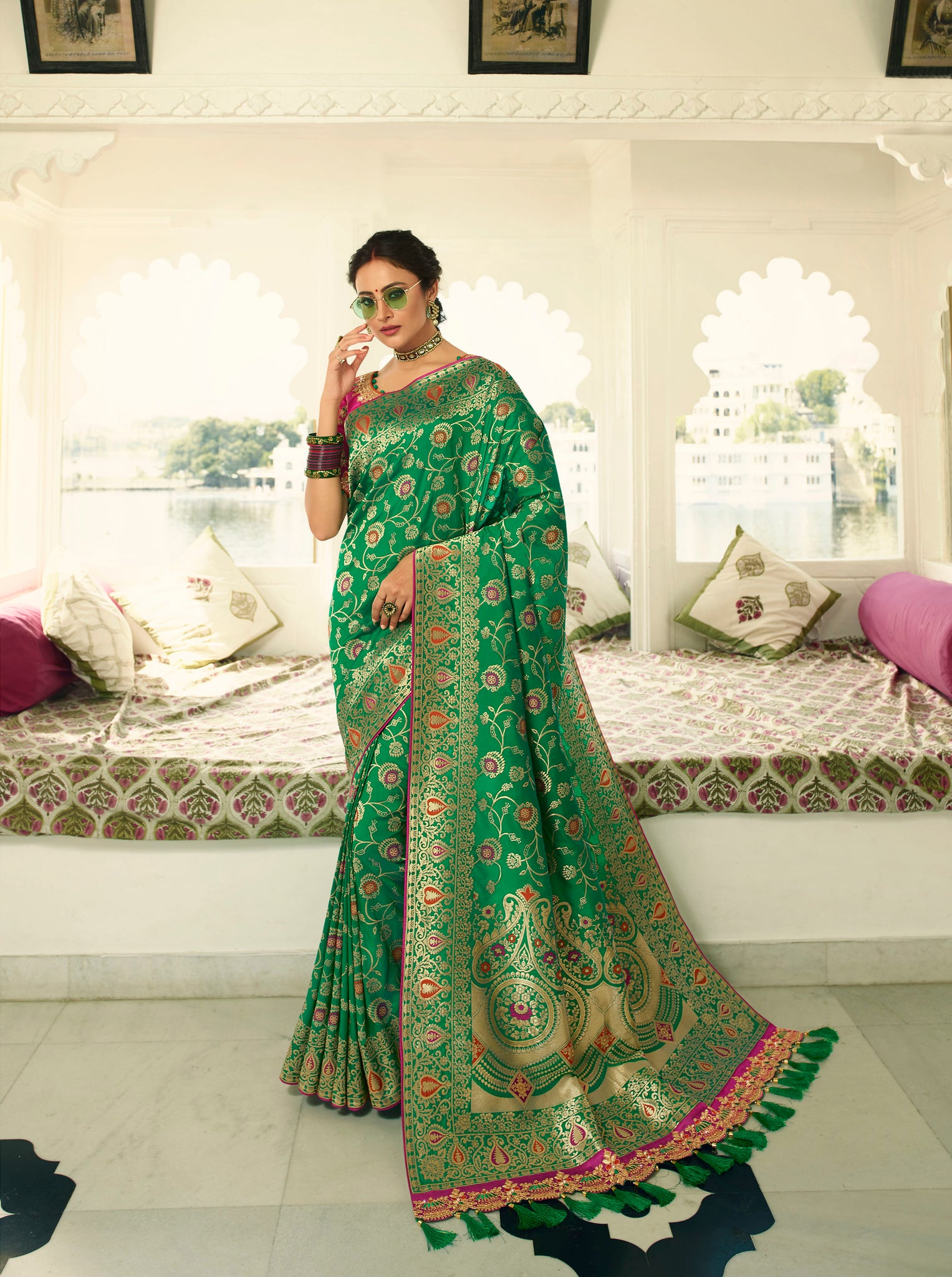 Shades Of Green  Designer Banarasi Saree