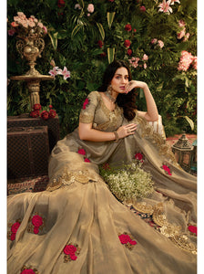 Golden Copper Designer Saree :- Samosatin Silk With Embroidery Border
