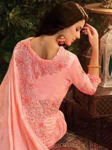 Light Pink Designer Saree :- Samosatin Silk With Embroidery Border