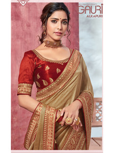 Partywear Designer Saree With Italian chiffon with embroidery border