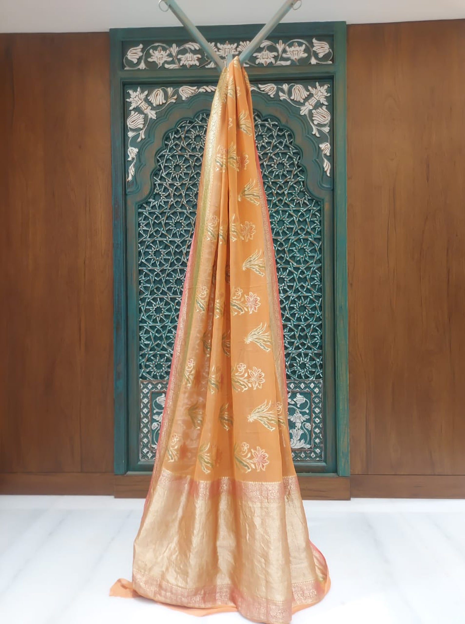Soft Rust Orange Chiffon Saree