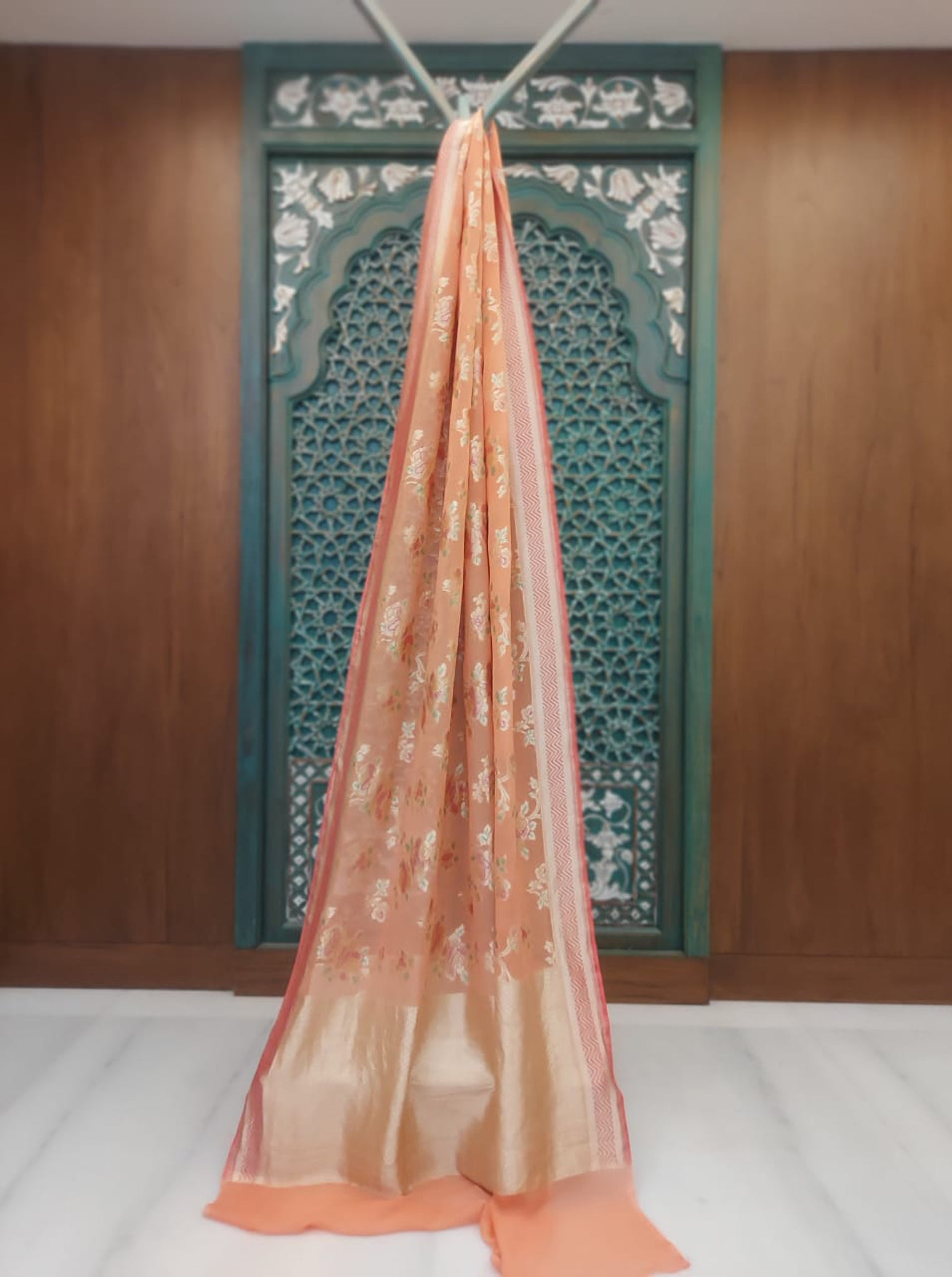 French Salmon Pink Chiffon Saree