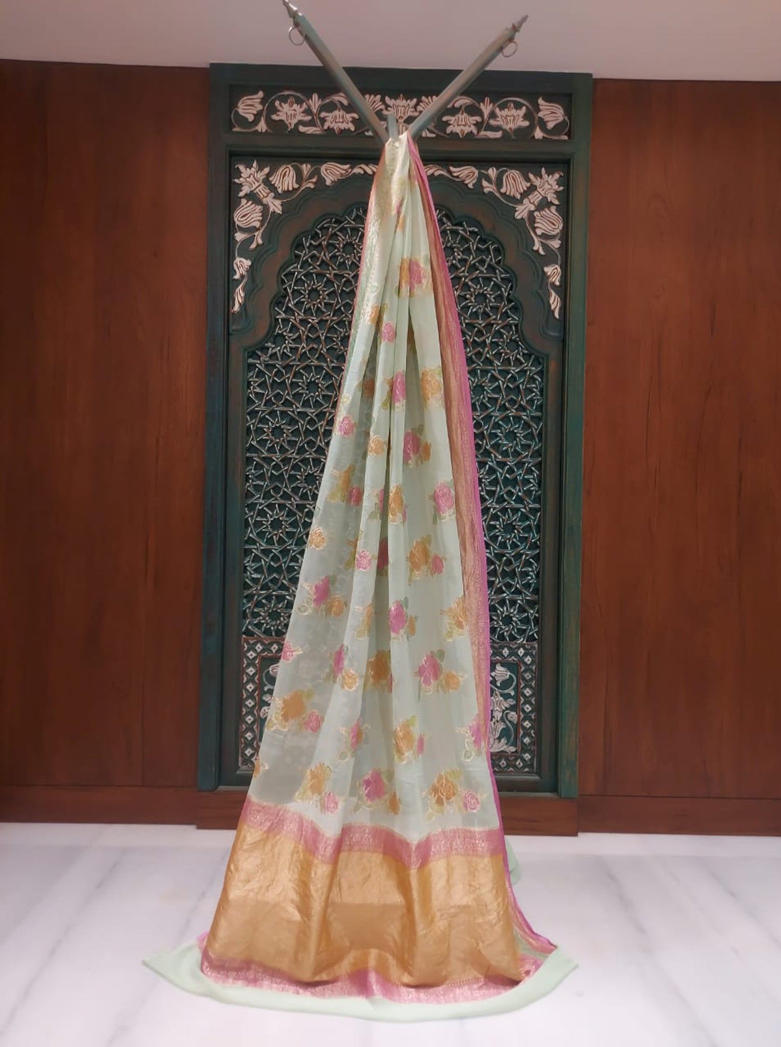 Soft Sky Blue Color with Pink Border Chiffon Saree