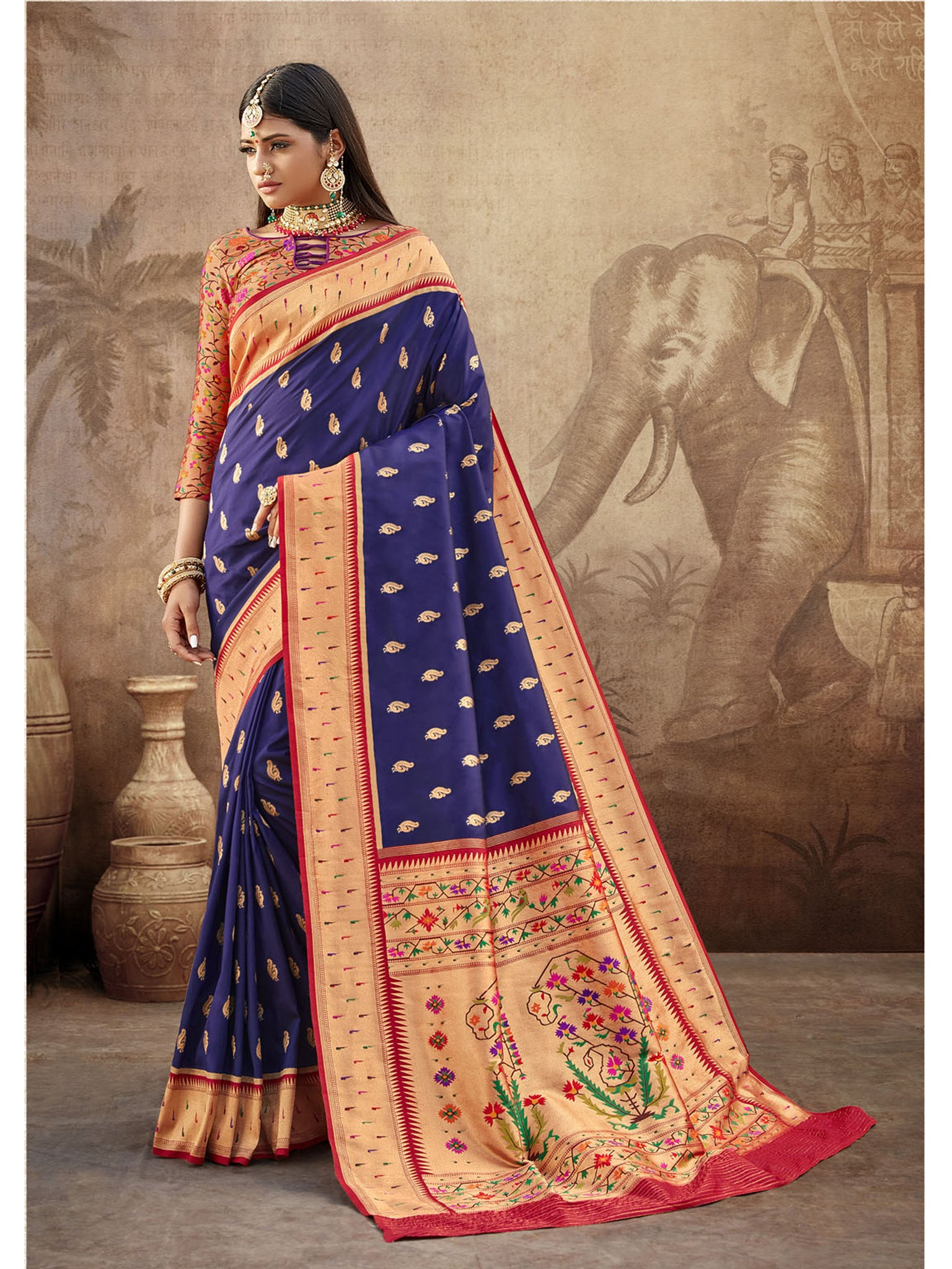 Dark Blue Paithani Silk Saree With Exclusive Brocket Blouse
