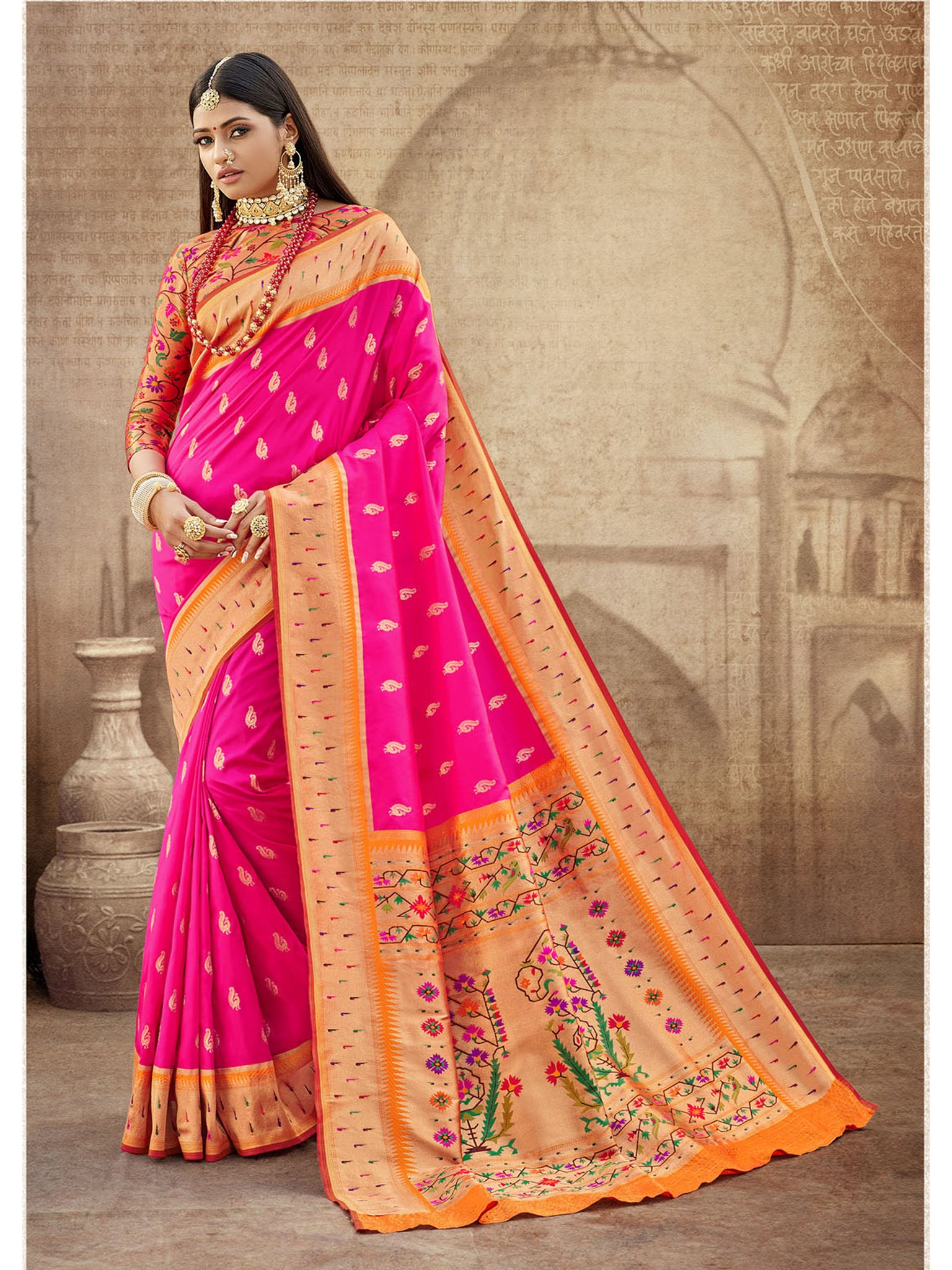 Rani Pink Paithani Silk Saree With Exclusive Brocket Blouse