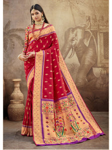 Persian Red Paithani Silk Saree With Exclusive Brocket Blouse