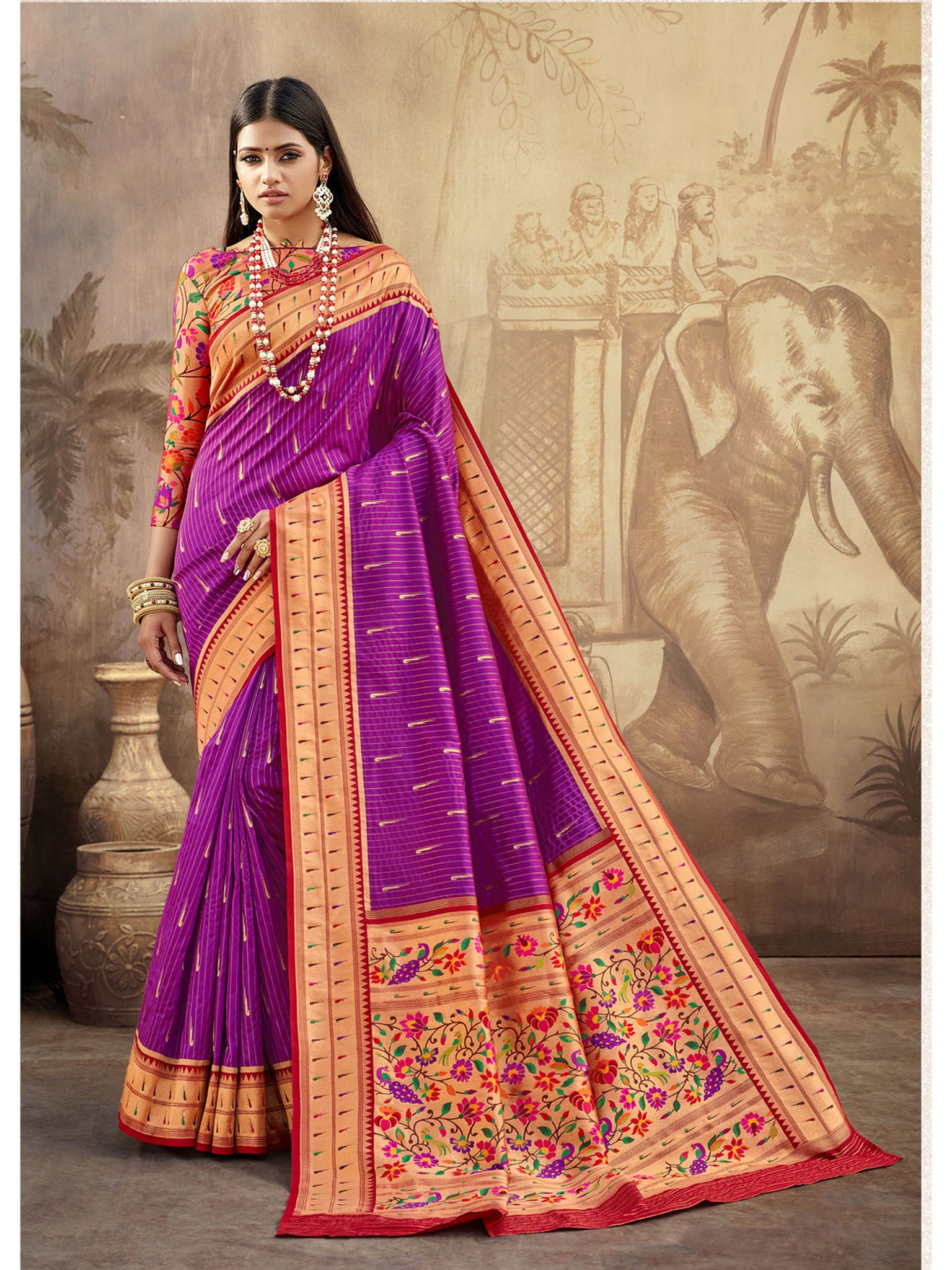 Megenta Purple Paithani Silk Saree With Exclusive Brocket Blouse