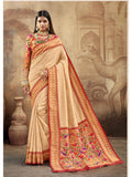 Chay Color Paithani Silk Saree With Exclusive Brocket Blouse