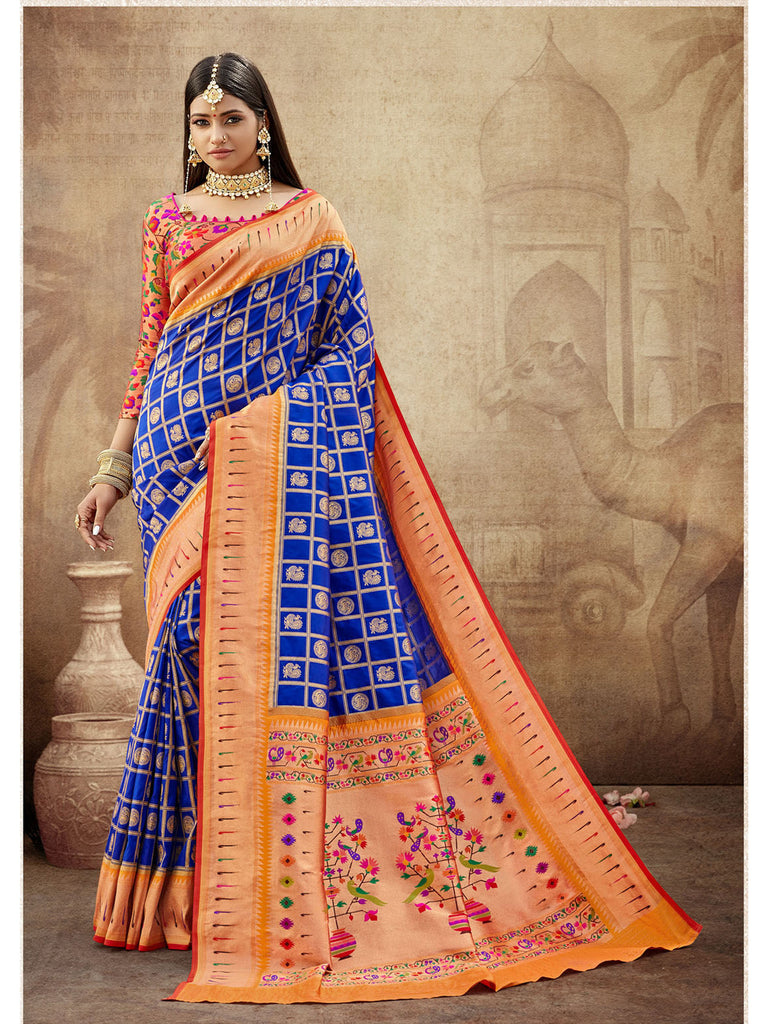 Egyptian Blue Paithani Silk Saree With Exclusive Brocket Blouse
