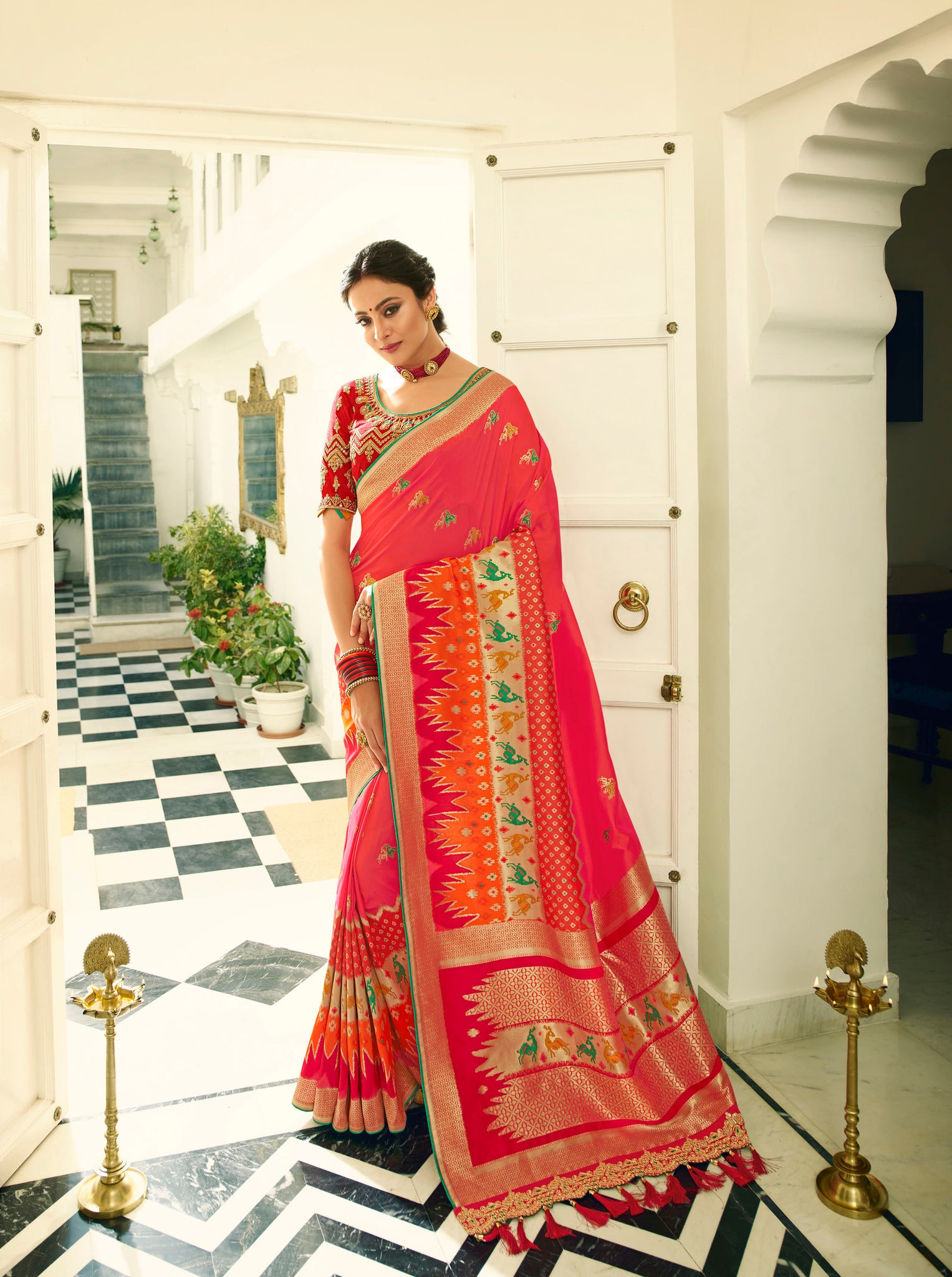 Candy Red And Orange Designer Banarasi Saree