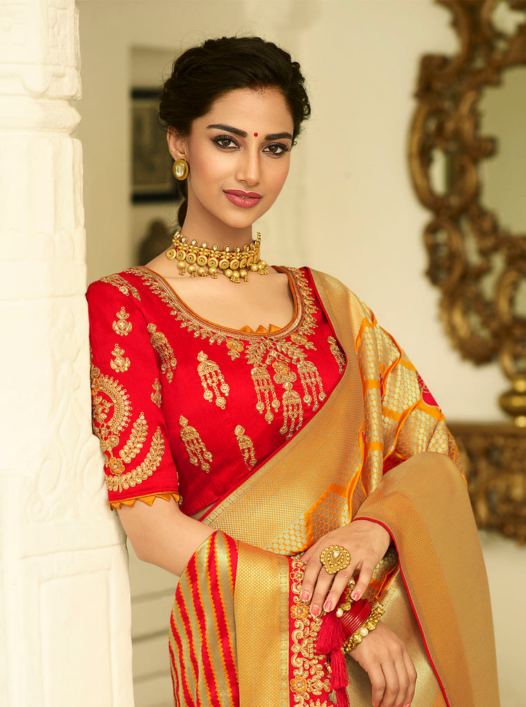 Golden Red Designer Banarasi Saree