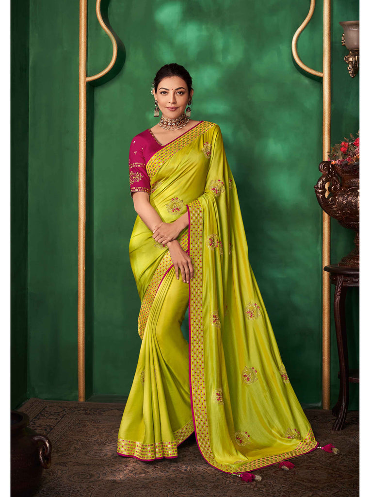 Beautiful Pale Green Designer Saree :- Samosatin Silk With Embroidery Border