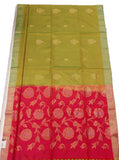 Light Moongia and Red Bangloari Silk Saree