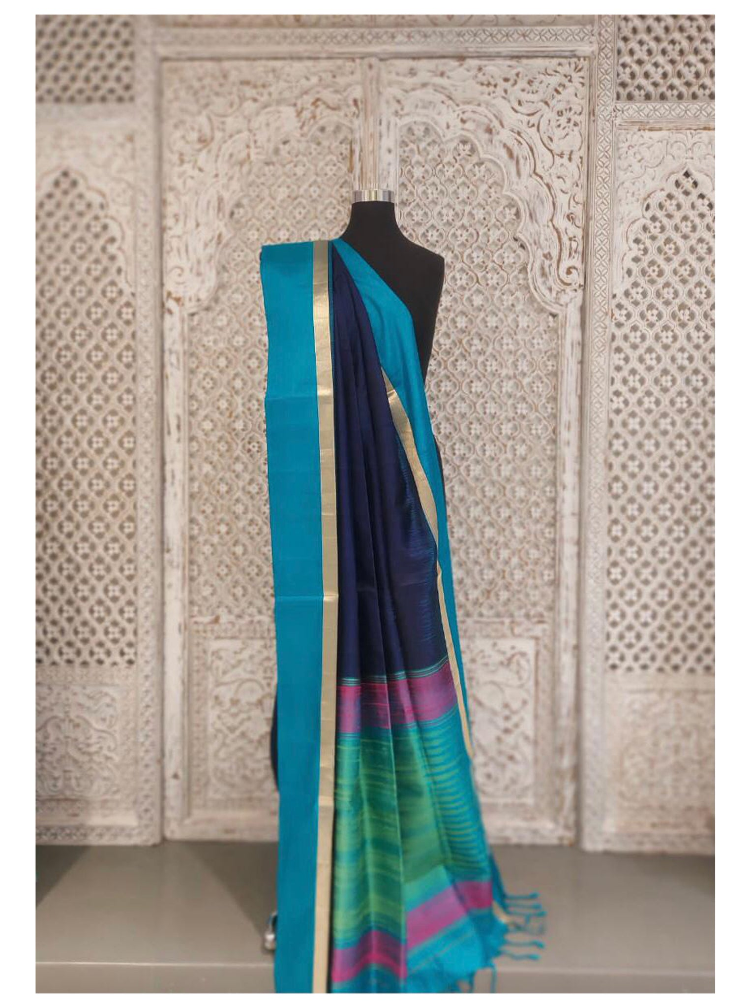 Navy Blue Bangloari Silk Saree