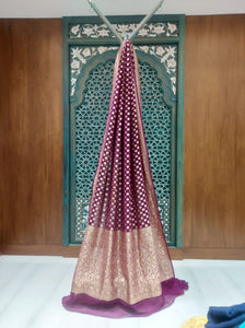 Chiffon Gorgeous Chocolate-Maroon Saree with Ivory Border