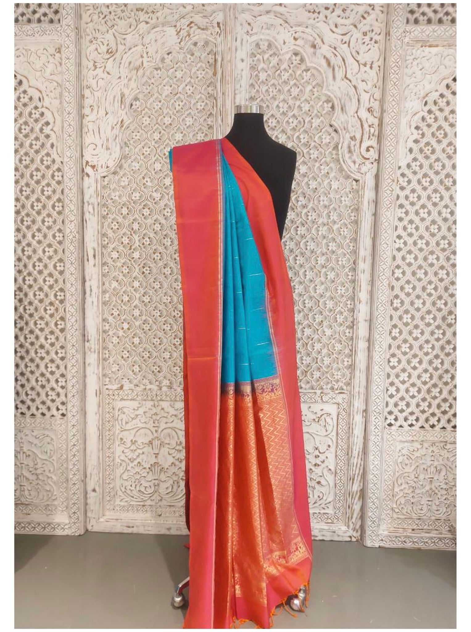 Red and Blue Bangloari Silk Saree