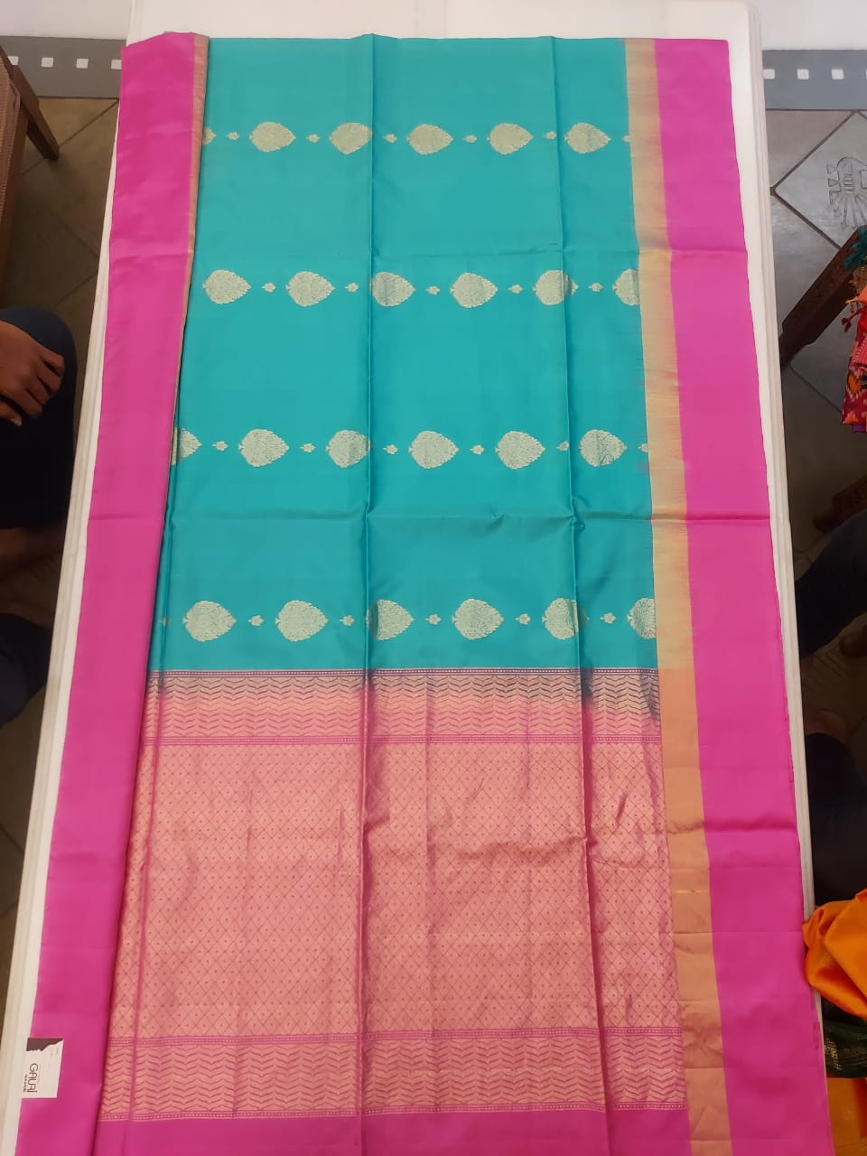 Pink And  light Blue Bangloari Silk Saree