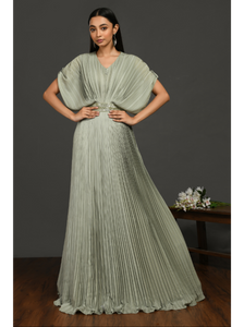 Satin Green Gathered Pleated Gown with Metalic Belt