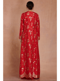 Printed Crop Top with Red Georgette Pleated Flared Pants with a Long Jacket