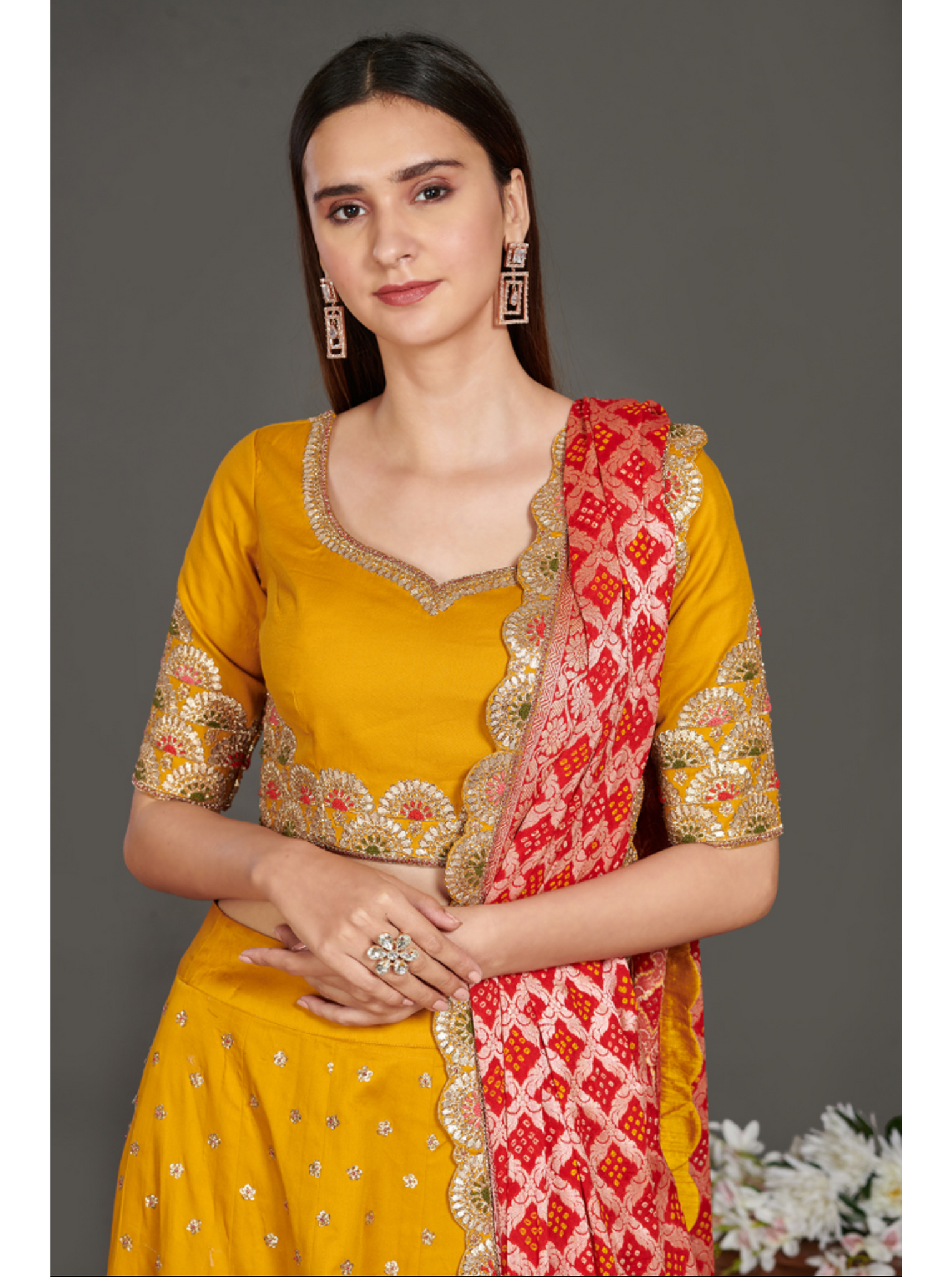 Yellow Lehenga with Red Dupatta