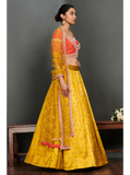 Red Coral Blouse with Yellow Printed Lehenga with Dupatta