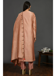Peach A-line Resham CHanderi Suit Set