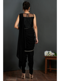Silver Embellished Blouse with Black Dhoti Saree
