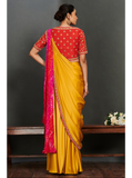 Red Double Layered Blouse with Yellow Saree with Bandhej Highlights
