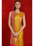 Mustard Saree with An Embellished Blouse with Attached Dupatta