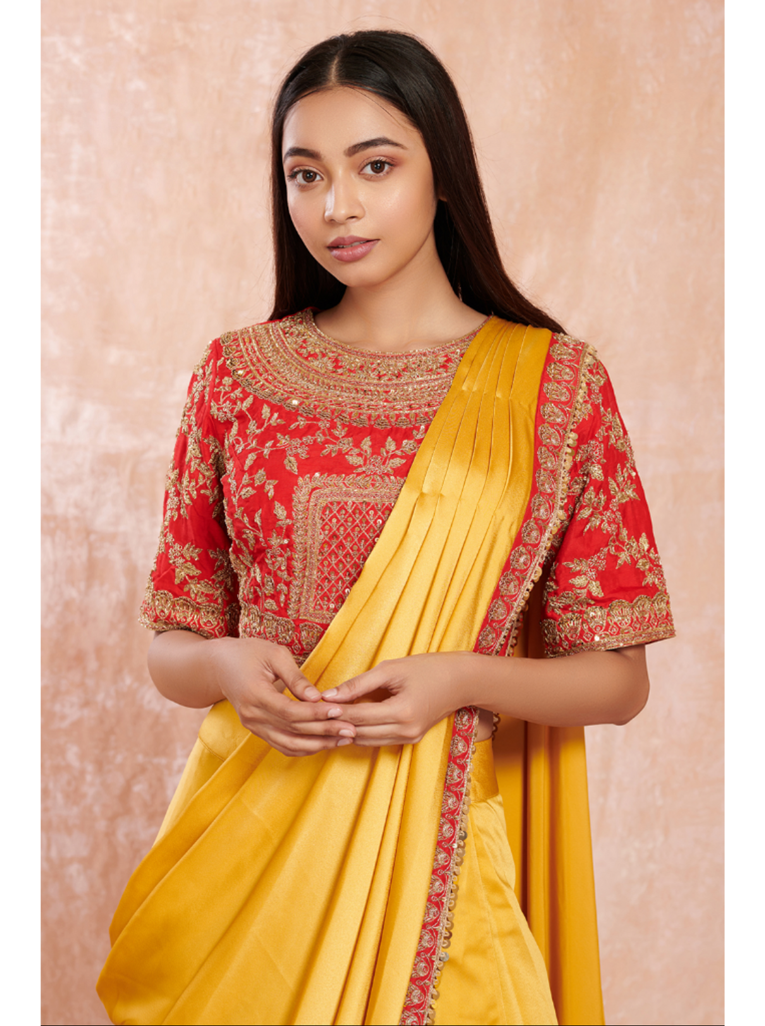 Canary Yellow Satin Saree with Heavy Red Blouse