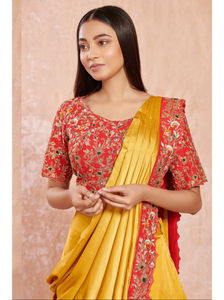Yellow Satin Saree with Floral Embroidery Blouse