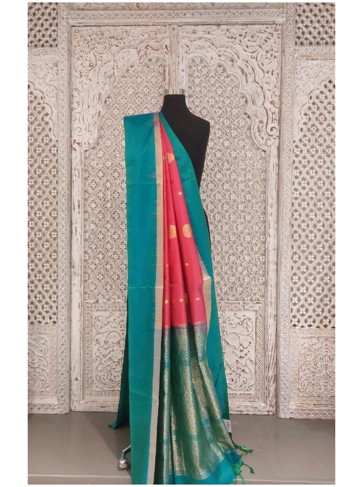 Sea Blue and Pink Bangloari Silk Saree