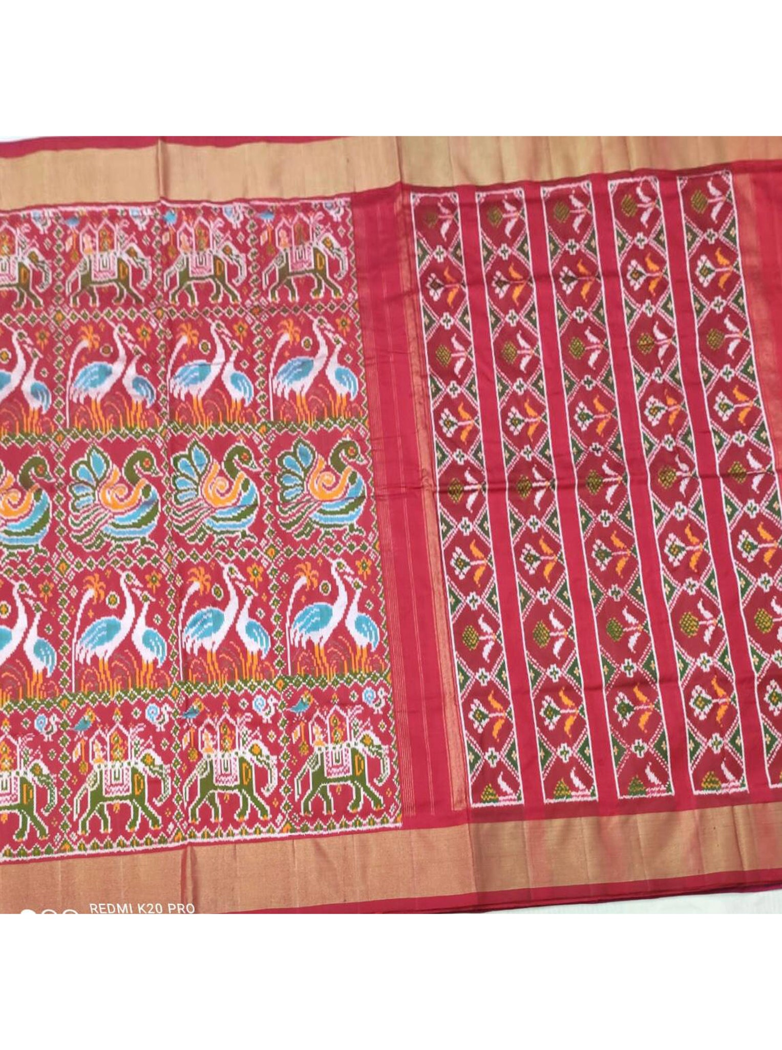Red Printed Patola Saree