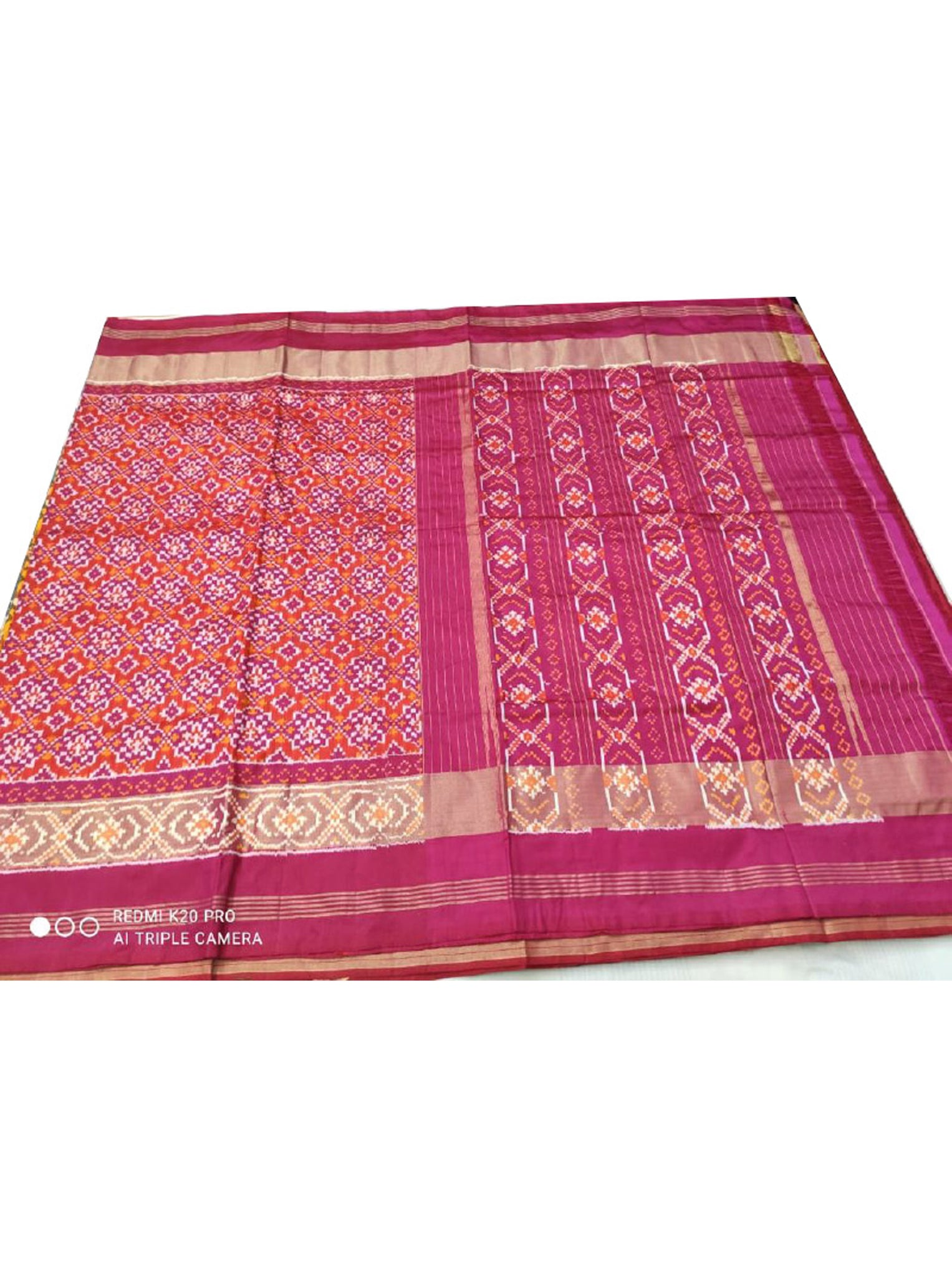 Gorgeous Deep Pink Woven Patola Saree