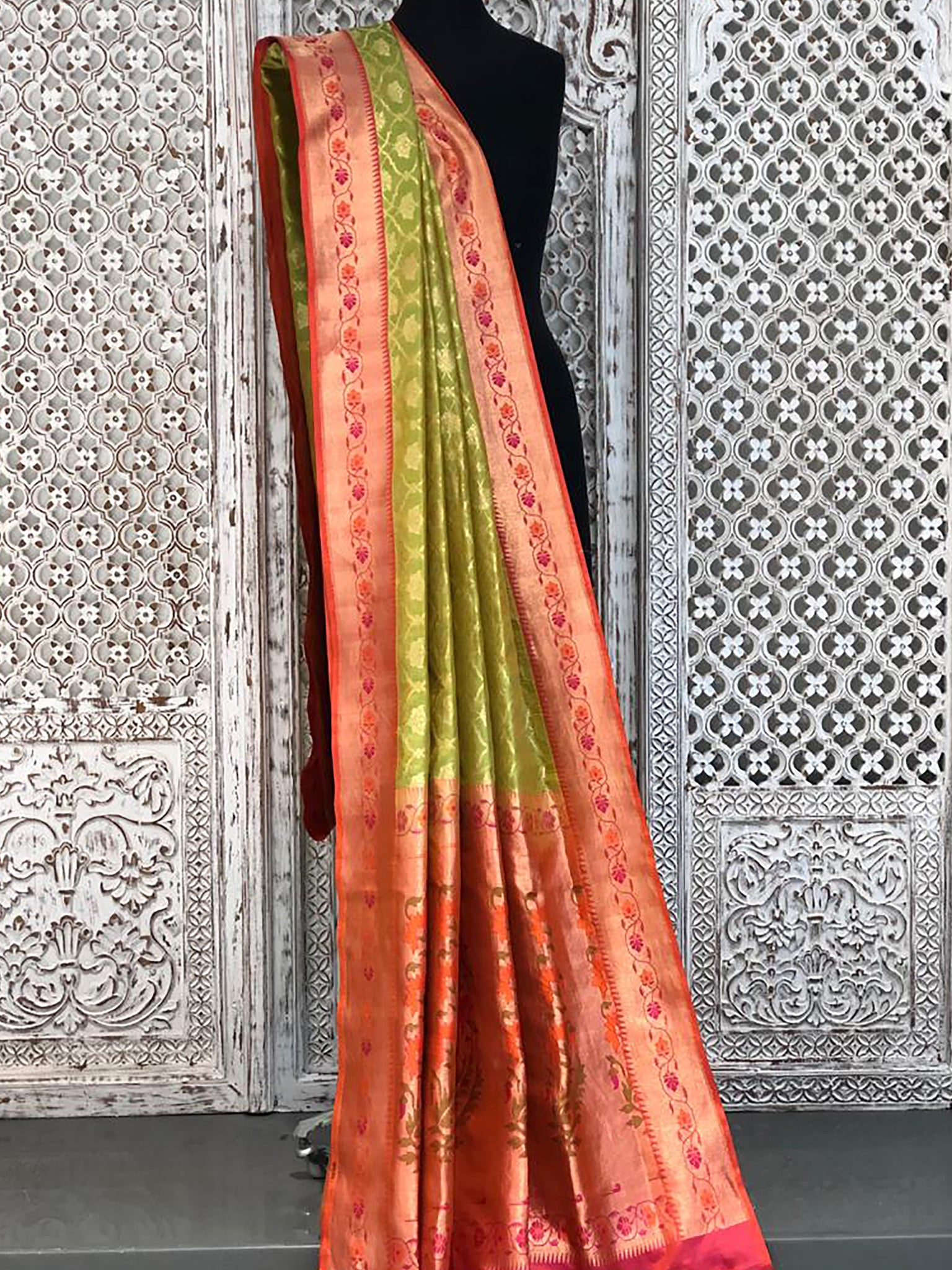 Green with Orange Banarasi Saree with Self Resham Jall in Body and Contract Orange Blouse