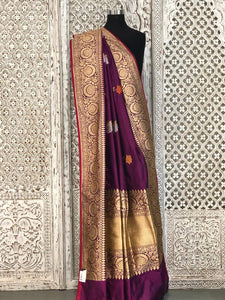 Magenta Banarasi Saree with Resham Zari Butti