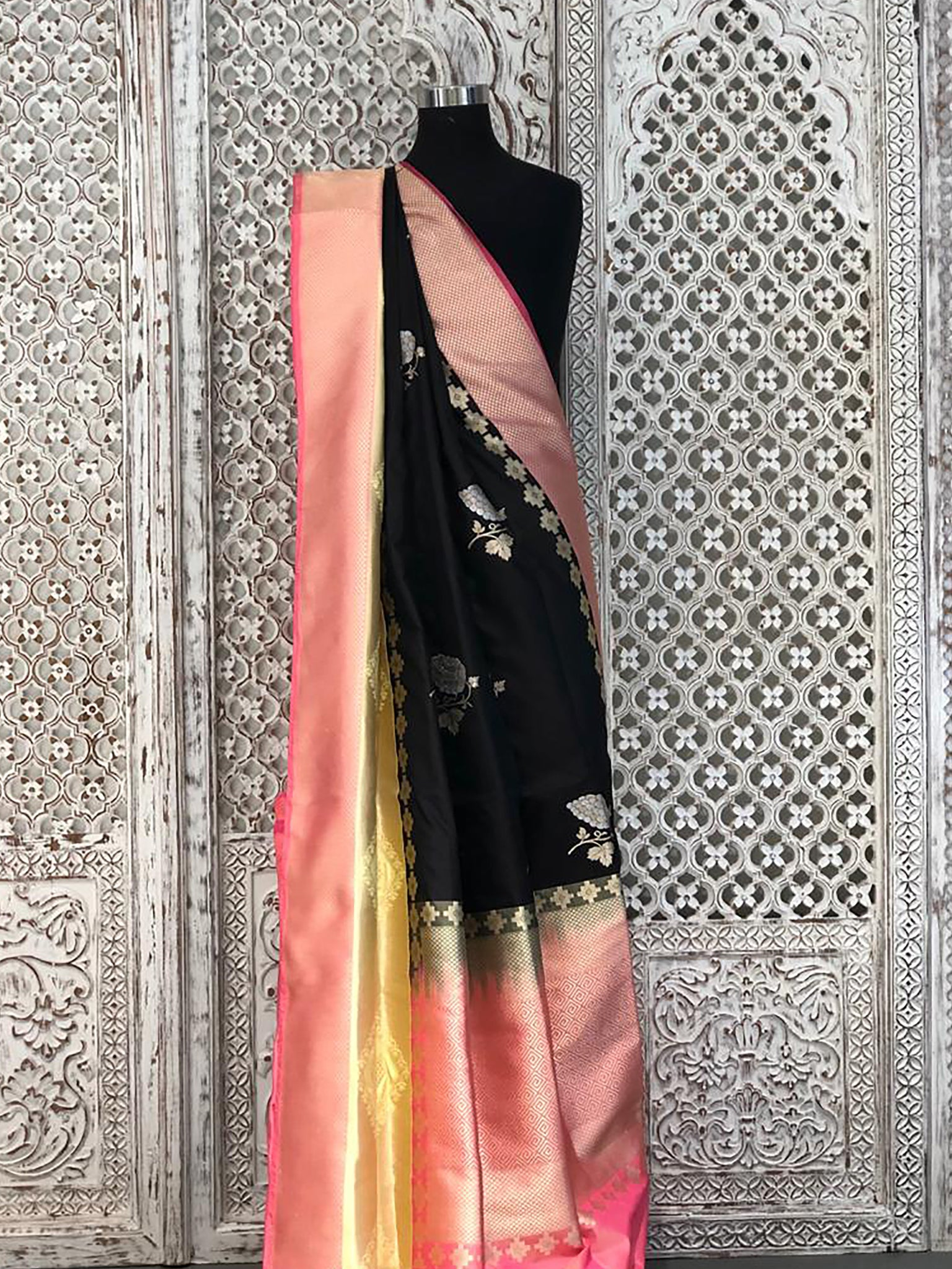 Black Banarasi Saree with Contract Pink Tissue Border and Angoor Butti