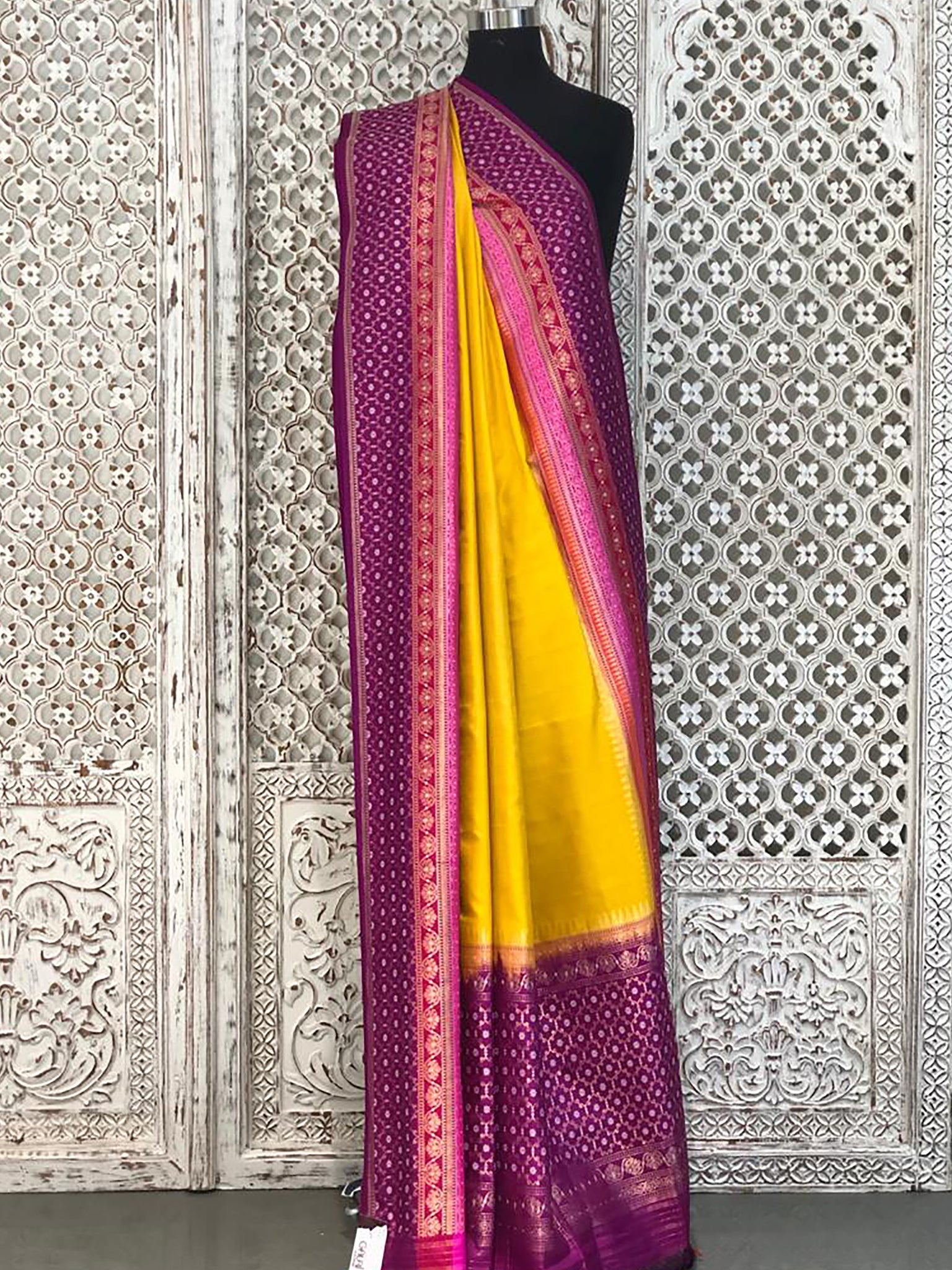 Gold with Magenta Banarasi Saree with Elegant Border