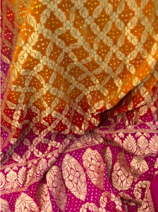 Golden Yellow and Red Bandhni Saree