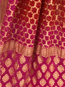 Red and Pink Bandhni Saree
