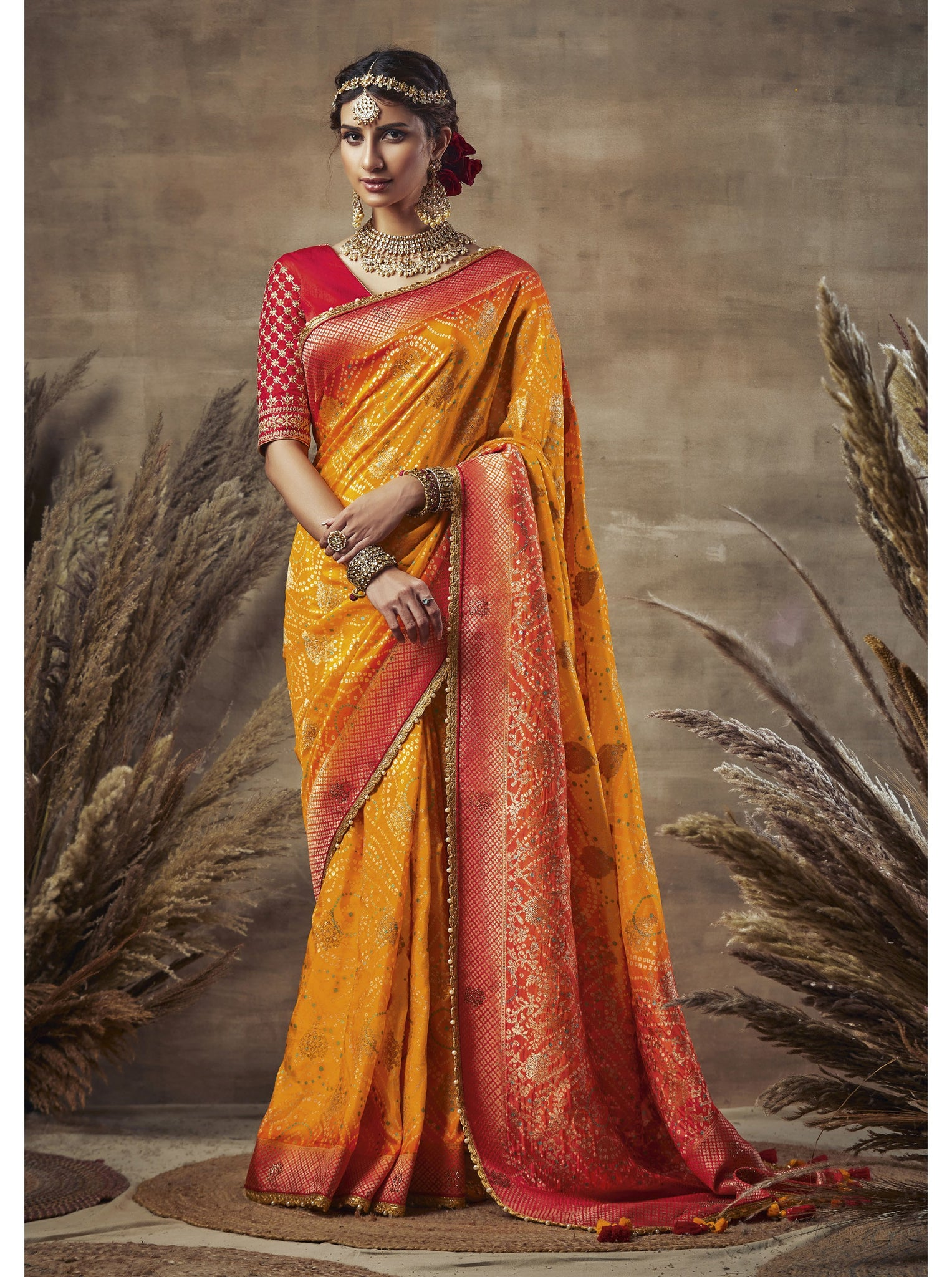 Yellow Weaving Bandhni Saree in Dola Silk