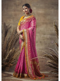 Pink Weaving Bandhni Saree in Dola Silk