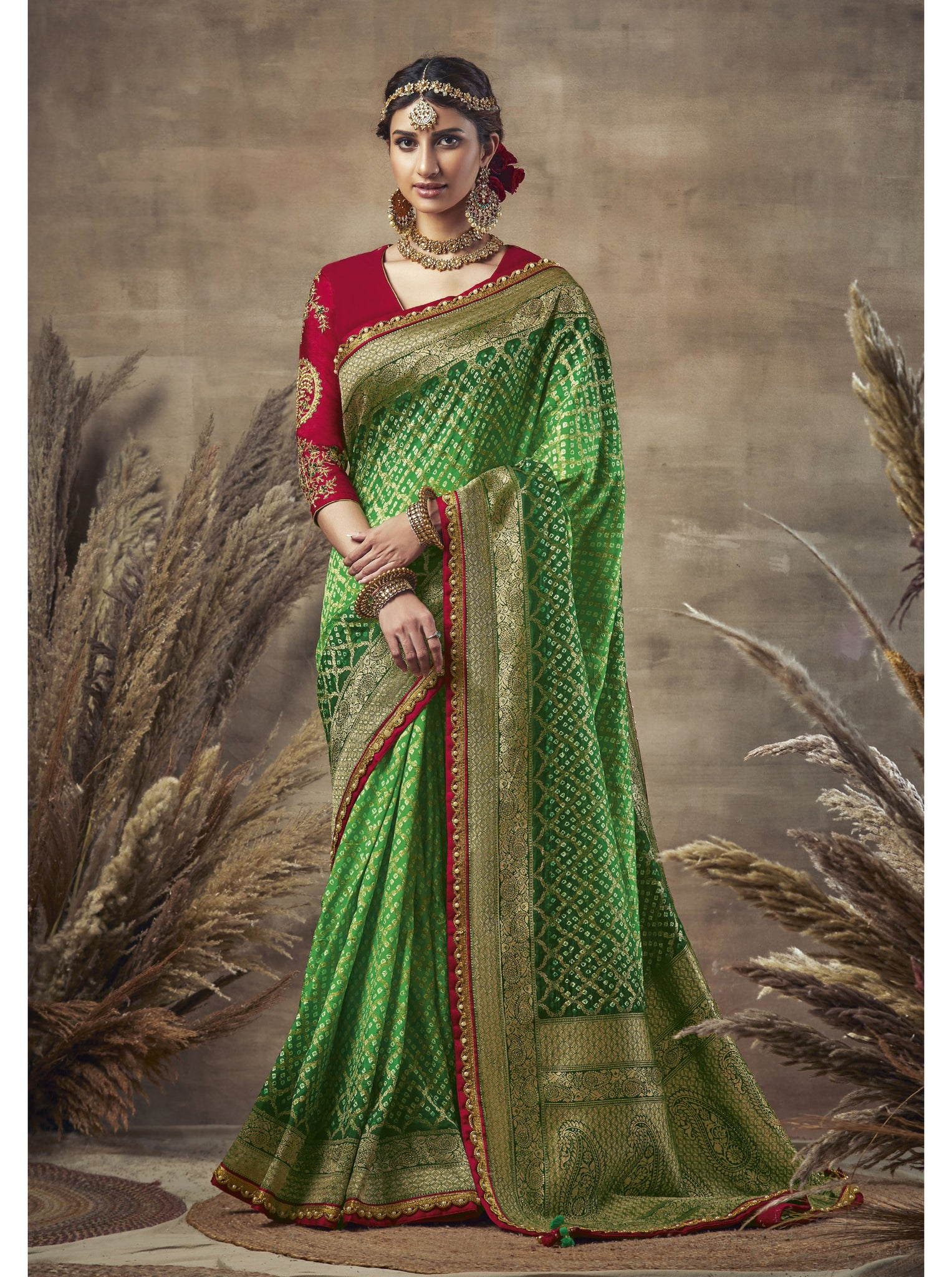 Green Weaving Bandhni Saree in Dola Silk