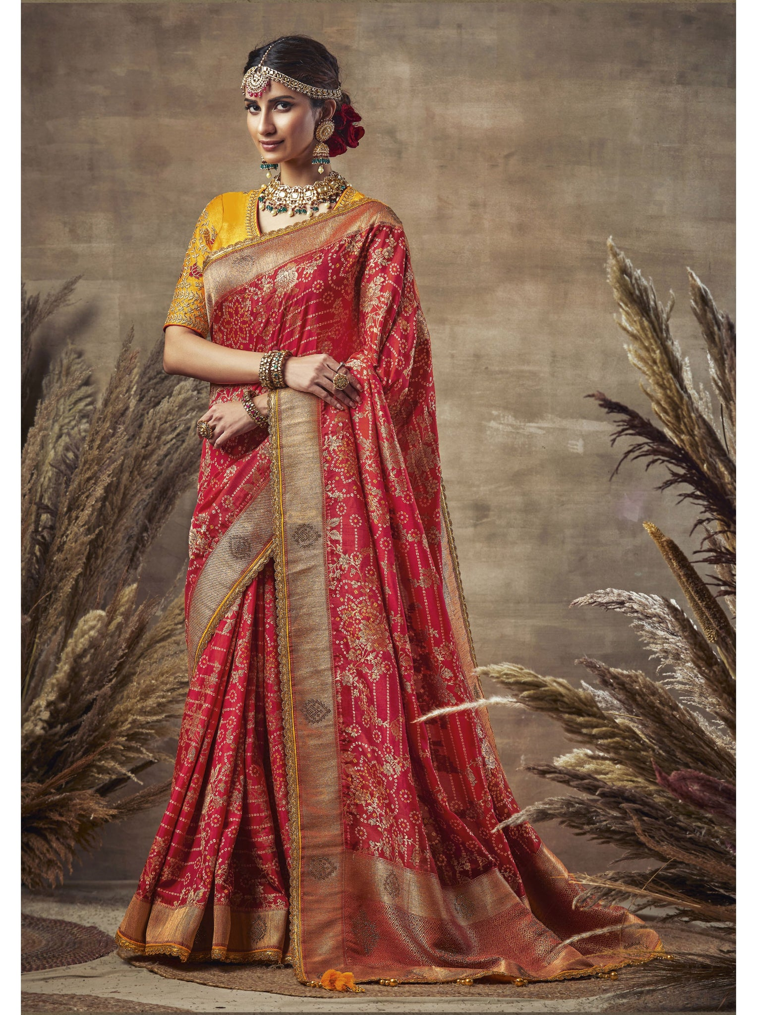 Red Weaving Bandhni Saree in Dola Silk