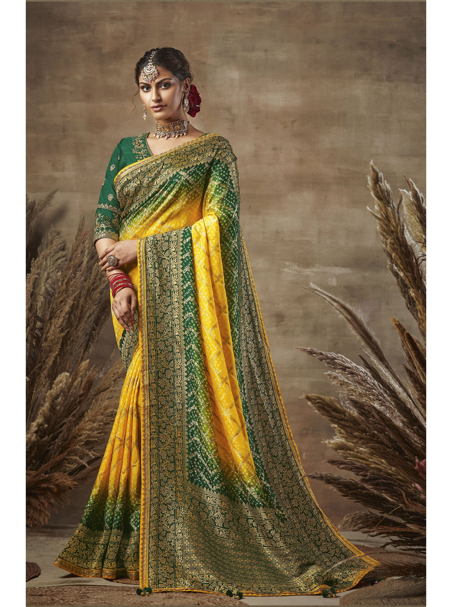 Green and Yellow Weaving Bandhni Saree in Dola Silk