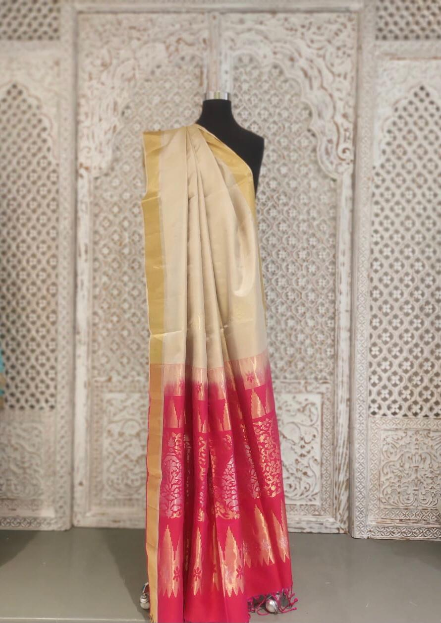 Ivory and Pink Bangloari Silk Saree