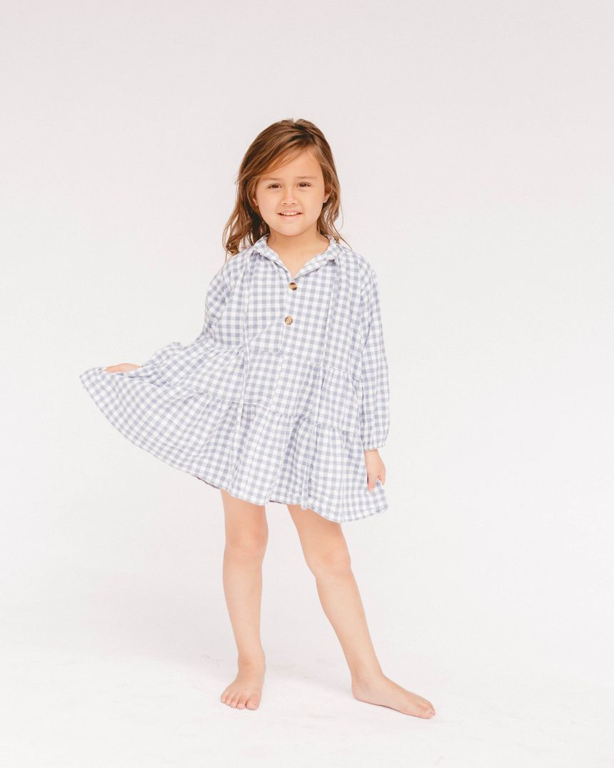 Kids linen cotton Smock Dress // blue Gingham