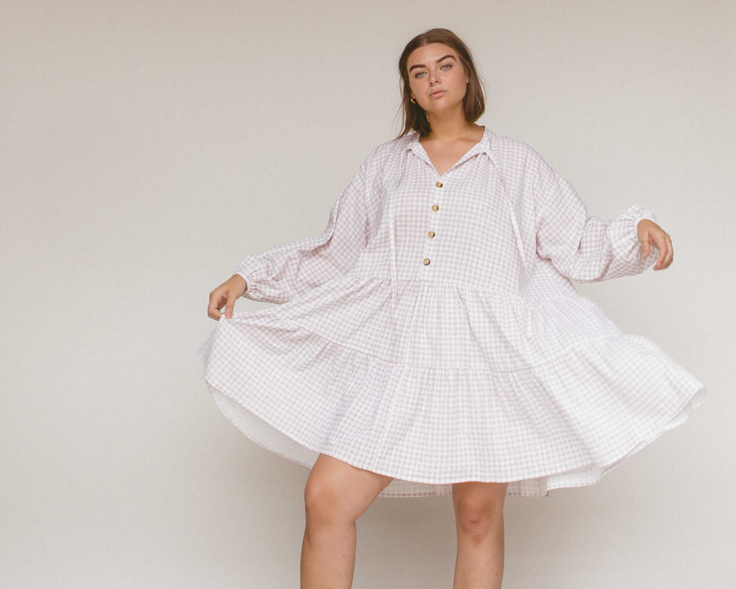 Linen cotton avalon Smock Dress // lilac purple gingham